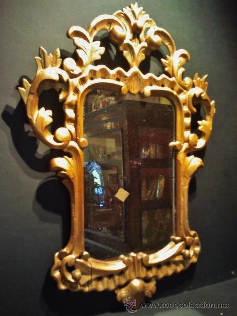 BONITO ESPEJO CORNUCOPIA. MADERA TALLADA Y DORADA. (Antigüedades - Muebles Antiguos - Cornucopias Antiguas)