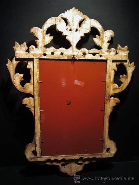 Antigüedades: Bonito espejo cornucopia. Madera tallada y dorada. - Foto 4 - 104562930