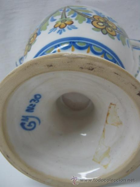 Antigüedades: 28.5 cm - Antiguo jarron Manises - firmado Gimeno y numerado - Foto 5 - 37758109