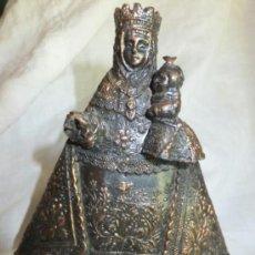Antigüedades: ESCULTURA EN BRONCE VIRGEN CON NIÑO JESÚS ADVOCACION DE COVADONGA ( ASTURIAS). Lote 37769142