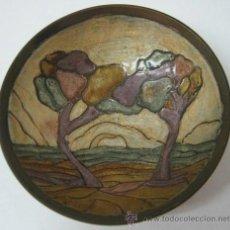 Antigüedades: ANTIGUO CENTRO ESTILO NOUCENTISTA LATON Y ESMALTE CLOISONNE ART NOUVEAU. Lote 37780476