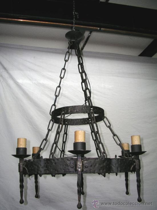 Lampara medieval de hierro forjado comprar l mparas - Lamparas de hierro ...