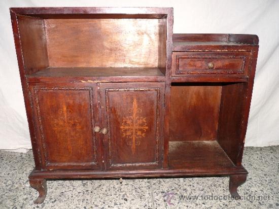 Antiguo mueble auxiliar de madera con marqueter comprar - Muebles estilo antiguo ...
