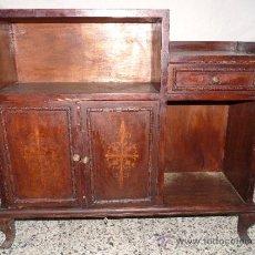 Antigüedades: ANTIGUO MUEBLE AUXILIAR DE MADERA CON MARQUETERIA.ESTILO VALENCIANO.. Lote 37860183