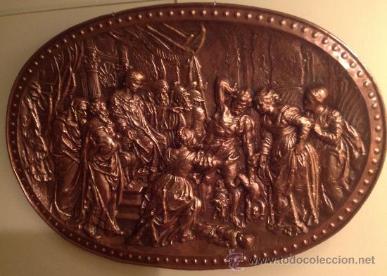 COBRE CON RELIEVE OVALADO JUICIO DEL REY SALOMÓN MEDIDAS 105X75CM (Antigüedades - Plateria - Varios)