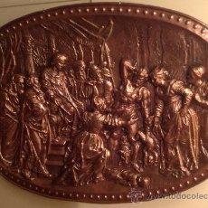 Antigüedades: COBRE CON RELIEVE OVALADO JUICIO DEL REY SALOMÓN MEDIDAS 105X75CM. Lote 37801847