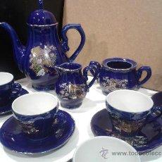 Antigüedades: JUEGO CAFÉ EIHO GRADE A AZUL - PORCELANA JAPONESA. Lote 37807539