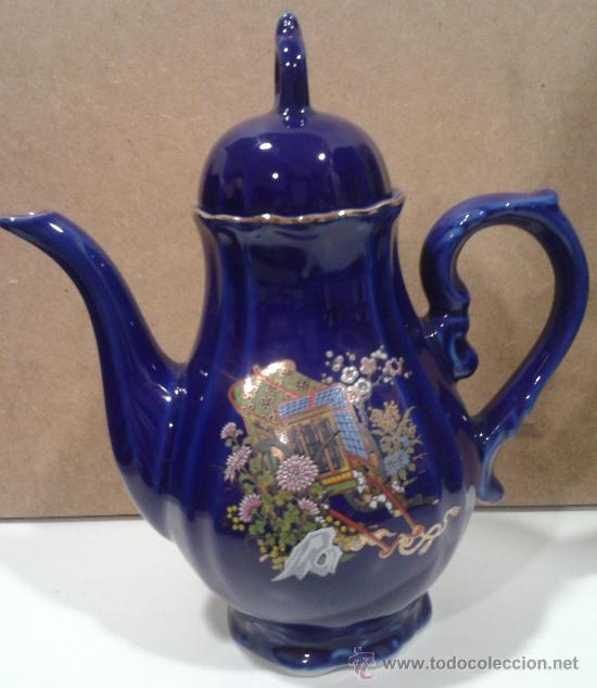 Antigüedades: Juego café EIHO Grade A azul - Porcelana japonesa - Foto 2 - 37807539