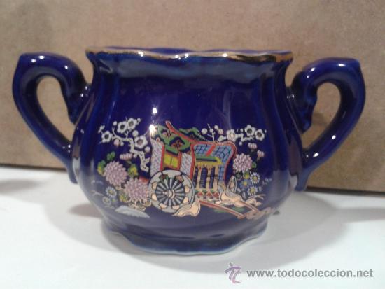 Antigüedades: Juego café EIHO Grade A azul - Porcelana japonesa - Foto 3 - 37807539