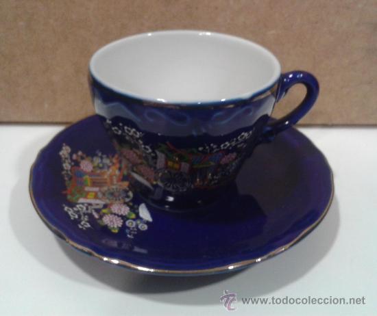 Antigüedades: Juego café EIHO Grade A azul - Porcelana japonesa - Foto 5 - 37807539