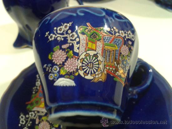 Antigüedades: Juego café EIHO Grade A azul - Porcelana japonesa - Foto 6 - 37807539
