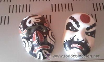 PRECIOSAS MASCARAS DE PORCELANA CHINAS, MASCARAS DE LA OPERA CHINA. (Antigüedades - Porcelanas y Cerámicas - China)