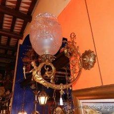 Antigüedades: ANTIGUOS APLIQUES DE BRONCE DORADO DE GAS DEL 1880 ORIGINAL. Lote 37817651