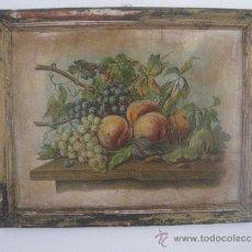 Antigüedades: LAMINA BODEGON FINALES DEL XIX PRINCIPIOS DEL XX CON SU MARCO. Lote 37820537