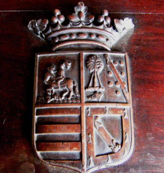 Antigüedades: GRAN ARCON MADERA CAOBA S.XIX. ESCUDO TALLADO - Foto 4 - 37823445