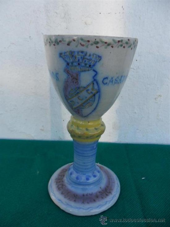 COPON DE CERAMICA ANTIGUA (Antigüedades - Hogar y Decoración - Copas Antiguas)