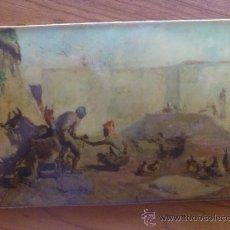 Antigüedades: FAMOSO CUADRO EN CHAPA PLASTIFICADA ( 15 CM X 10 CM ). Lote 37859135