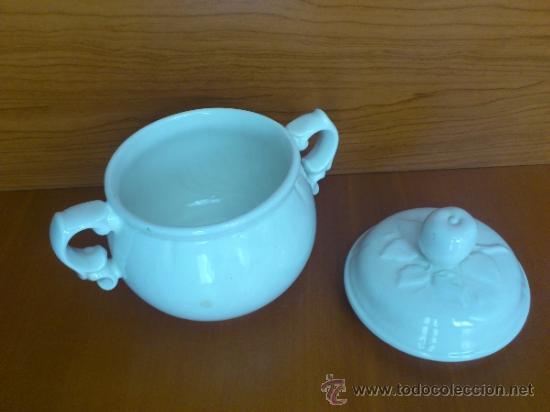 Antigüedades: Azucarero antiguo de loza blanca vidriada ( SAN CLAUDIO ) - Foto 15 - 37834904