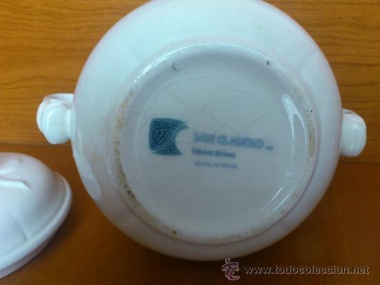 Antigüedades: Azucarero antiguo de loza blanca vidriada ( SAN CLAUDIO ) - Foto 25 - 37834904