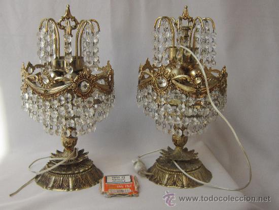 Lamparas de mesa en metal con cristales vendido en venta - Cristales para mesa ...