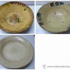 Antigüedades: LOTE DE 1 PLATO Y 2 CUENCOS ANTIGUOS - SE DESCONOCE LAS FECHAS . Lote 82669464