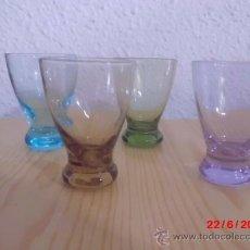 Antigüedades: JUEGO DE CUATRO VASOS ANTIGUOS DE COLORES. Lote 37840083