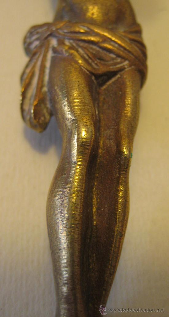 Antigüedades: ANTIGUO CRISTO DE BRONCE DORADO. 9,5 X 8,8 CM. ALT MÁXIMA HASTA LAS MANOS 10 CM - Foto 3 - 37888138