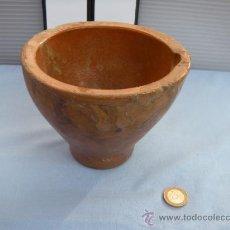 Antigüedades: CERÁMICA POPULAR. ANTIGUO MORTERO DE BARRO VIDRIADO.. Lote 37943516