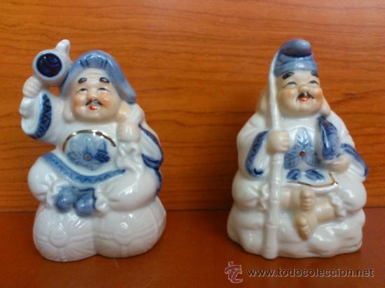 PAREJA DE FIGURAS JAPONESAS ANTIGUAS EN PORCELANA FINA MATE/BRILLANTE ( EIHO ) AÑOS 60 (Antigüedades - Porcelana y Cerámica - Japón)