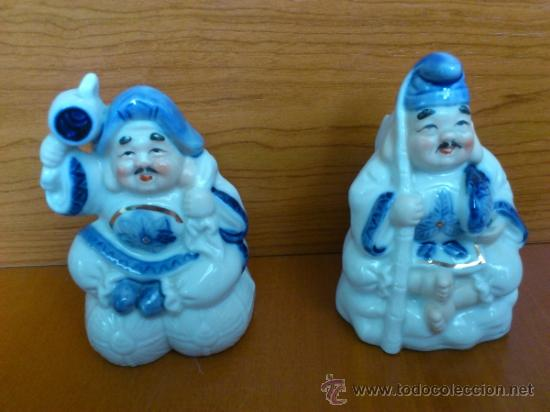 Antigüedades: Pareja de figuras Japonesas antiguas en porcelana fina mate/brillante ( EIHO ) AÑOS 60 - Foto 16 - 37957758