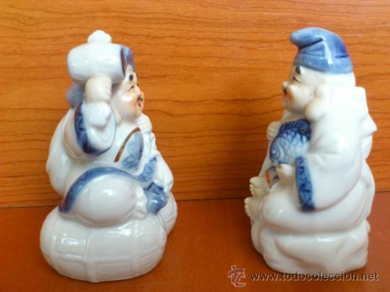 Antigüedades: Pareja de figuras Japonesas antiguas en porcelana fina mate/brillante ( EIHO ) AÑOS 60 - Foto 2 - 37957758