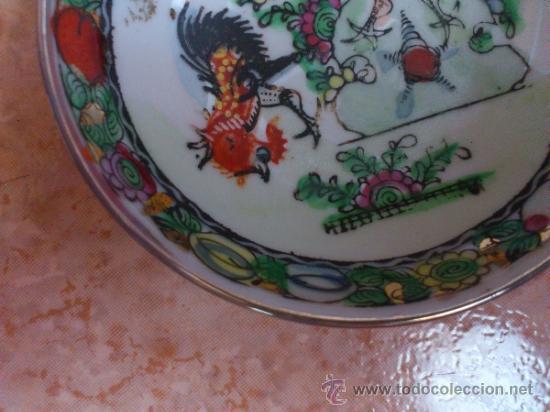 Antigüedades: Plato antiguo en porcelana de caolín China ( MACAU ), pintado a mano y sellado. - Foto 4 - 72269071