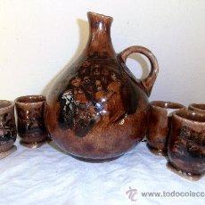 Antigüedades: JARRA, BOTELLA Y CINCO VASOS DE CERAMICA,. Lote 37970759