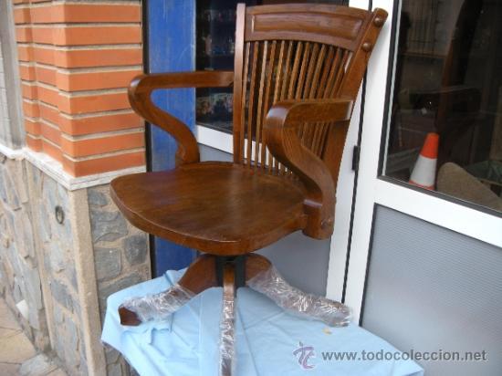 Antigua silla sill n de escritorio oficina bu comprar for Sillas para escritorio de madera