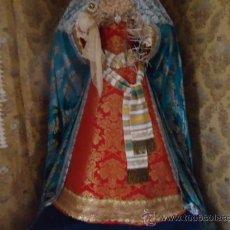 Antigüedades: GRAN BROCADO PARA MANTO VIRGEN TAMAÑO NATURAL DE CAMARIN, VISTA, TURQUESA SEDAS DE COLORES Y ORO -. Lote 37974815