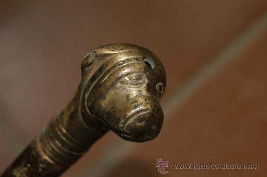 Antigüedades: Antiguo bonito baston de caballero, de coleccion, con perro. - Foto 3 - 38041673