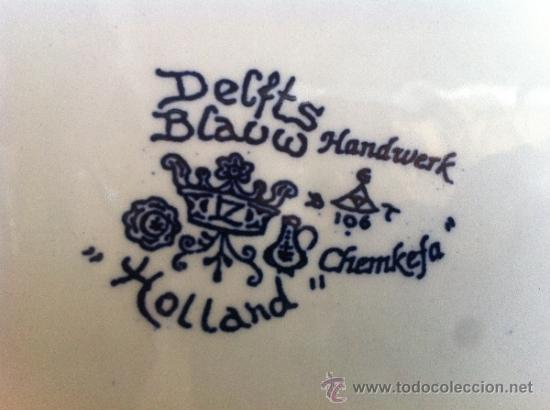 Antigüedades: PLATO ANTIGUO GRANDE SELLADO DELFT - Foto 5 - 38320128