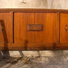Antigüedades: CABECERO PIECERO NOGAL DETALLES DE TARACEA. Lote 38033494