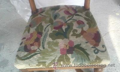 Antigüedades: Preciosa silla de madera maciza con tapizado realizado en punto de cruz. - Foto 3 - 38039959