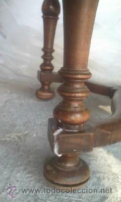 Antigüedades: Preciosa silla de madera maciza con tapizado realizado en punto de cruz. - Foto 5 - 38039959