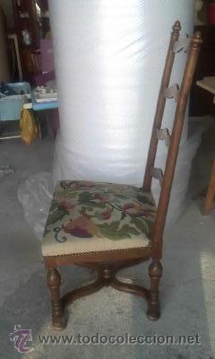 Antigüedades: Preciosa silla de madera maciza con tapizado realizado en punto de cruz. - Foto 7 - 38039959