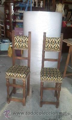 Antigüedades: Preciosas y antiguas sillas de madera maciza y tapizado de terciopelo. Años 40 - Foto 2 - 38040093