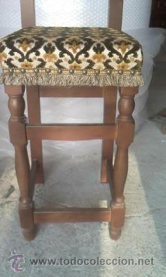 Antigüedades: Preciosas y antiguas sillas de madera maciza y tapizado de terciopelo. Años 40 - Foto 3 - 38040093