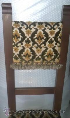 Antigüedades: Preciosas y antiguas sillas de madera maciza y tapizado de terciopelo. Años 40 - Foto 5 - 38040093