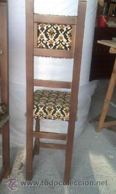 Antigüedades: Preciosas y antiguas sillas de madera maciza y tapizado de terciopelo. Años 40 - Foto 6 - 38040093