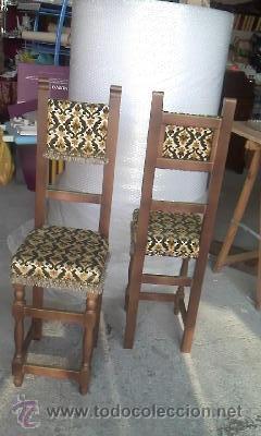 Antigüedades: Preciosas y antiguas sillas de madera maciza y tapizado de terciopelo. Años 40 - Foto 7 - 38040093