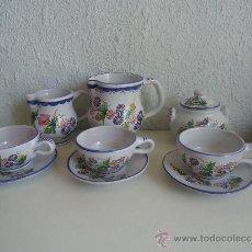 Antigüedades: ANTIGUO JUEGO DE CAFE PARA TRES SERVICIOS JARRA CERÁMICA MURCIANA FIRMADO EL POVEO LORCA MURCIA. Lote 38047608