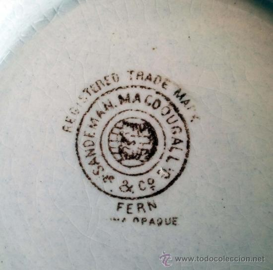 Antigüedades: Antigua Sopera Sandeman Macdougall. Serie Fern. China Opaque. - Foto 6 - 38065000