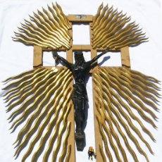 Antigüedades: GRAN TALLA JESUCRISTO CRUZ EN MADERA EBONIZADA PARA ALTAR, IGLESIA,CRUZ , CRUCIFIJO. Lote 38079700