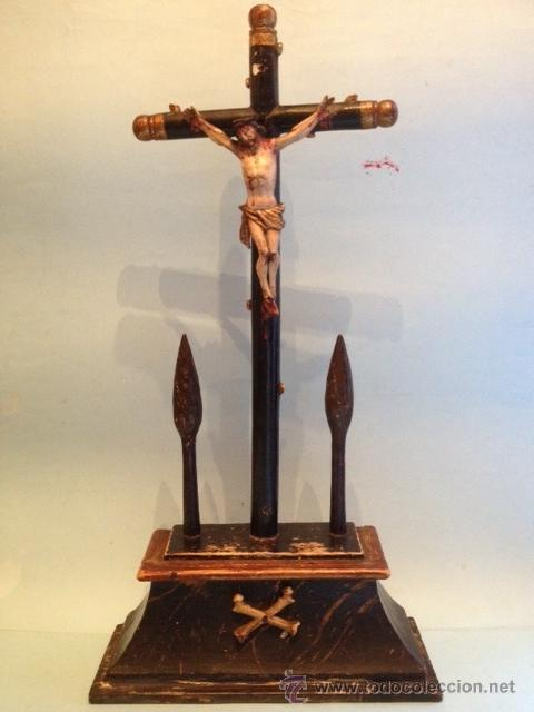 jesucristo en la cruz, talla madera, estilo isa - comprar cruces